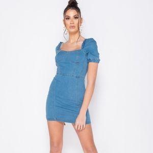 Denim Frill Detail Bodycon Mini Dress
